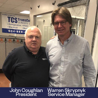 John Coughlan with Warren Skrypnyk, refrigeration expert
